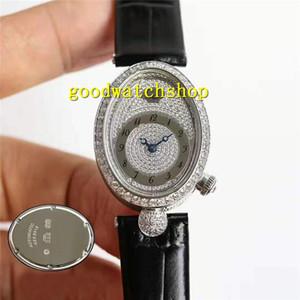 Top Marca REINE DE NÁPOLES cheio de diamantes Mulher Assista Moda Womens Watch Cal.537 Mecânica Automatic 28800 vph Sapphire Itália Leather Strap