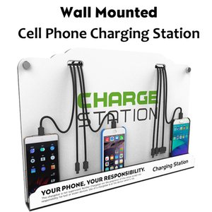 Muro del telefono cellulare Mounted Charging Dock Station Hub w / 8 cavi ad alta velocità per iPhone Samsung Tablet Android