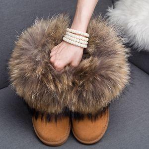 Bottes en cuir véritable fourrure de renard réel Marque d'hiver Chaussures chaud Black Round Toe Casual Taille Plus Femme Bottes de neige LY191224