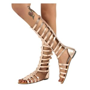 2020 Roman Bandage Sandals Boots Women Knee High Flat Women Shoes Girls Summer Hollow Ankle Boot Sandalias Botas Femininas