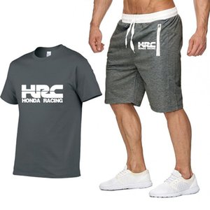 Herren Kurzarm für HRC Rennen Motorrad Sommer T-Shirt Hip Hop T-Shirt hohe Qualität Baumwolle T Shirts Hosen Anzug Sportbekleidung