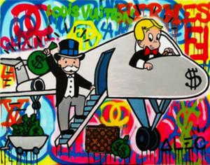 Alec Monopoly Peinture à l'huile sur toile mur Art urbain décor couleur Avion mur d'art Décoration d'intérieur Artisanats / HD Imprimer Photos 190919