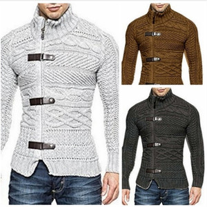 Autumn and winter Vintage men's high neck sweater 3 leather buckle thick long sleeve solid color T-shirt slim casual Pullover