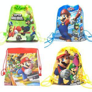 Suministros de fiesta de cumpleaños de Super Mario Bros Bolsa de regalo con cordón Bolsa de fiesta de Mario para niños Cumpleaños Tela no tejida Escuela infantil