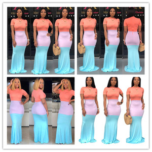 Women's Back Zipper Long Dress Color Matching Maxi Dresses Short Sleeve Bodycon Skirts Overall Skinny Full-length Dinner Evening Gown LY0304