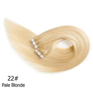 22'' Tape Adhesive Hair 20pcs set Remy tape in human hair extensions Double Sided Straight Wavy Skin Weft Hair Extension Color 22# 27# 16#