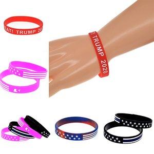 2020 Bracelet en silicone Trump Keep America Great Trump campagne Bracelet bannière étoilée Bracelet en silicone Camo américain Fashion Bracelet