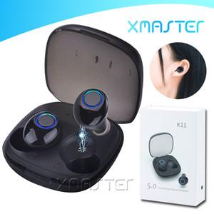 K11 Bluetooth 5.0 TWS Earbuds HIFI Bass Surround Headsets Binaural Sports imperméables Conception invisible Écouteur avec paquet de détail xmaster