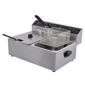 tanques de doble comerciales 2x6L pollo viruta Fryer la freidora eléctrica freidora cesta para freír pollo KFC máquina para freír la patata Máquina