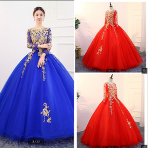 Altın İnciler Dantel Gelinlik Prenses Uzun Kollu V yaka Korse Geri vestidos de Quinceanera Elbise Sweet 16 Kız Akşam Pageant Elbise