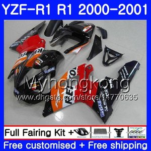Corps pour YAMAHA YZF 1000 YZF R 1 YZF-1000 YZFR1 00 01 Cadre 236HM.42 YZF-R1 00 01 Carrosserie YZF1000 YZF R1 2000 2001 Carénage noir