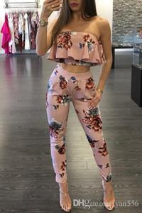 2019 Alças Sexy florais Jumpsuits Impressão Two Piece Backless Clube macacãozinho Womens Jumpsuit Strapless completa Bodysuit Verão Macacões