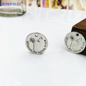 High Quality 20 Pieces Lot Diameter 20mm Double-sided Wishes do Come True Cute Words Wish Charm Pendant Dandelion Alloy Charms