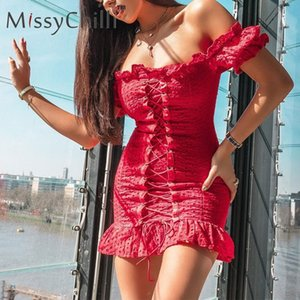 MissyChilli Red off shoulder ruffle bandage mini dress Women bodycon backless lace up dress Summer elegant sexy party club dress CX200525