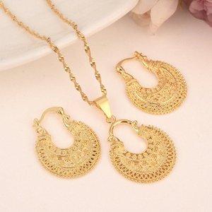 Dubaï India Gold femmes mariage gfirls collier pendentif Boucles d'oreilles Parures Parti nigérien africain Ethiopie cadeau charmes bricolage 49oL #