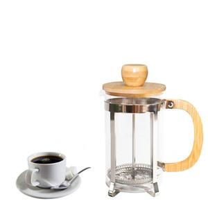 Caffettiera in acciaio inossidabile con coperchio in bambù e maniglia Pressa francese Bollitori portatili per tè in vetro Filtro per tè nuovo GGA2630