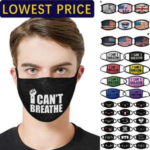 Máscara DHL Shipping Designer Máscara Anti Rosto Pó eu não posso respirar Mora Preto Matéria Trump algodão para Máscaras Bandeira Ciclismo lavável reutilizáveis de pano