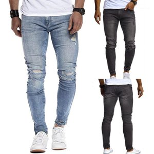 Jeans Skinny Low Waist Solid Color Slim Hole Street Style Pencil Pants Casual Male Clothing Fashion Mens Designer