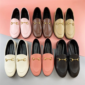 2020 luxury pumps women leather cowhide horsebit loafers slippers flat sole casual shoes size 34-42 pointed stitching