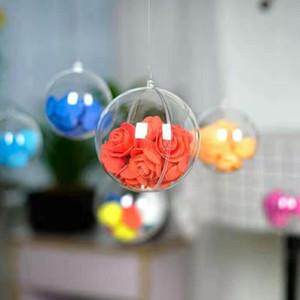 Mariage d'arbre de Noël Décoration 80mm Transparent en plastique transparent Fillable Boule Babioles ouverture cadeau Boîte De Bonbons 200pcs