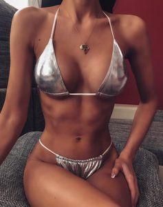 atacado 2020 sets Bikini suit swimwear halter brilhante couro bra couro brilhante sutiã borda ruffle sexy yakuda desgaste Leopard Print separado