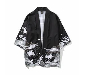 Лето Мужские Кимоно Японская Одежда Уличная Повседневная Кимоно Куртки Harajuku Япония Стиль Кардиган Верхняя Одежда Новая Мода Хорошо