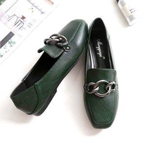 أحذية المرأة المتسكعون الشقق زخرفة المعادن الأحذية طوي أكسفورد الشرائح الصنادل مريحة زائد الحجم أسود اللون البني الأخضر مسود