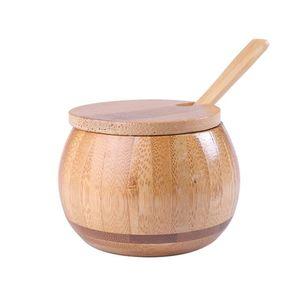 Высокое качество Гладкая поверхность бамбука Бытовая соль и специи Box Round Natural Color Приправа коробка хранения древесины порошок бутылки Горшок с ложкой