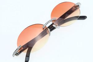 Fornecedores superiores Atacado Óculos Pedras Grandes óculos preto Vintage chifre de búfalo 3524012 sem aro dos óculos de sol Rodada Unisex High-end