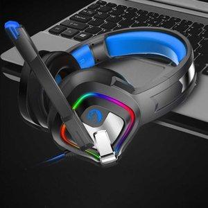 3,5 mm Klinke Lautstärkeregler für PC USB Gaming Headset Stereo Wired Weiche Earmuffs Zubehör Bass mit Mic-Computer-LED-Leuchten T191030