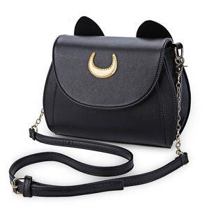 Summer Sailor Moon Ladies Handbag Borsa a tracolla a catena nera Luna Cat Shape Borsa a tracolla Messenger in pelle da donna