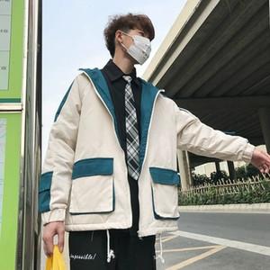 O-Cuello masculinos invierno de la chaqueta de los hombres la ropa del color del golpe Cordero abajo Mantenga suelta Warm Coat Moda sombrero de algodón acolchado ropa Tamaño M-XL