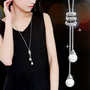 Long Chain Necklace Sweater Spiral Rhinestone Pearl Necklace Crystal Flower Pendant Necklace Sweater Chain Statement Jewelry for Women