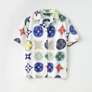 2020 미국 비즈니스 브랜드 격자 무늬 셔츠, 패션 디자이너 브랜드 짧은 소매면 캐주얼 셔츠 스트라이프 셔츠 크기 # 02