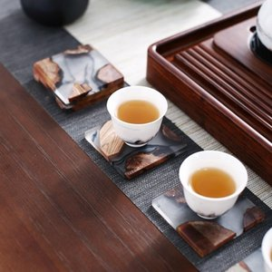Creative Square Resin Pine Tea Cup Coaster Set Mats On The Table Individuality For Hot Drink Coffee Pad Heat Insulation Placemat Y200328