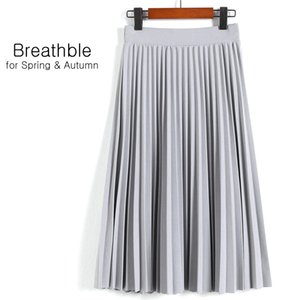 SheBlingBling Spring Autumn Fashion Women's High Waist Pleated Solid Color Half Length Elastic Skirt Promotions Lady CX200605