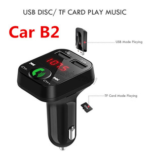 Mais barato CAR B2 Multifuncional Transmissor Bluetooth 2.1A Dual USB carregador de Carro FM MP3 Player Car Kit Suporte TF Cartão Handsfree Carregador