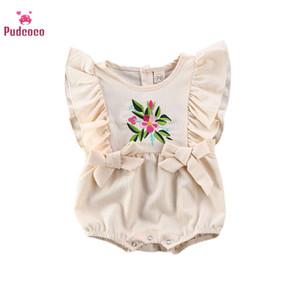 Pudcoco 2020 Summer Tiddle Girl Clothes Floral Romper Bodysuit Jumpweates Cotton Clothing 6-24m