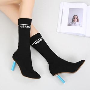 Fashion Square каблука Mid Boots Женщины Круглый Носок вязания Носок сапоги Женщина партии Stretch Скольжение на офис Ladies осенью новый