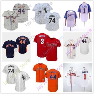 Скидка Бейсбол Джерси 1 Оззи Альбис 44 Йордан Альварес 3 Брайс Харпер 74 Элой Хименес мужчины S-3XL