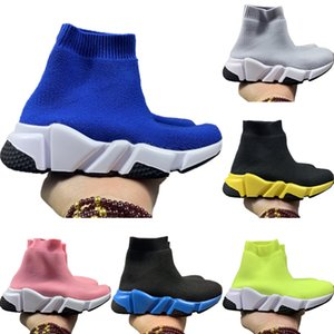 With Box 2020 Kids Speed Stretch Knit High Top Breathable Sports Sock Boots Originals Speed Kids Buffer Rubber Walking Shoes