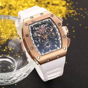 Yeni RM011 RM11 Flyback Chrono Rose Gold Siyah İskelet Dial Büyük tarihi Otomatik Erkek İzle Beyaz Kauçuk Kayış Spor Saatler Hello_watch