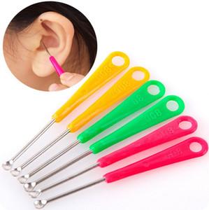 Acier inoxydable adulte enfants earpick cérumen retrait oreille de nettoyage multicolore mixte envoyer Oreille Cleaner cuillère spirale oreille propre outil