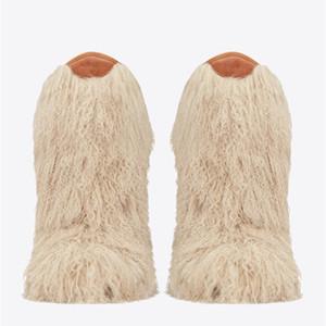 Le donne Winter Snow Boots reale genuina peloso piuma dello struzzo Furry pelliccia Appartamenti Slip On Runway caldo ginocchio Botas Nero Bianco