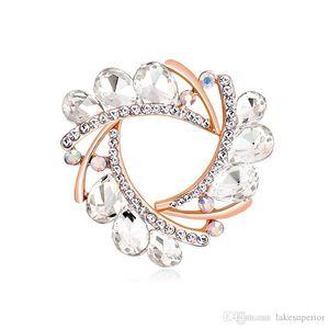 Women Rhinestone Crystal Flower Brooch Silk Scarf Buckle Multi Color Suit Lapel Pin Brooch Buckle Gift for Love