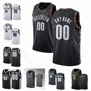 Screen Print Basketball Kevin Durant Jerseys Kyrie Irving DeAndre Caris LeVert Spencer Dinwiddie Black White City Finished Earned Edition