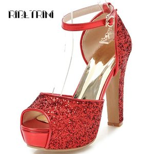 RIBETRINI Big Size 31-43 Female High Heels Shoes Woman Fashion Bling Platform Summer Sandals Women Party Sexy Sandals