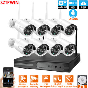 8CH Audio CCTV System Wireless 1080P NVR 8pcs 2.0mp IR Outdoor P2P WIFI IP-CCTV-Sicherheitskamera-Systemüberwachungskit