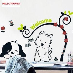 DIY маленькая собака мультфильм дети водонепроницаемый настенная наклейка спальня декор водонепроницаемый стены стикеры для детской комнаты