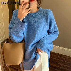 BGTEEVER Lose O-Ansatz Frauen Pullover Side-split gestrickter Pullover weiblicher Winter weicher Strick Pullover Tops 2019 Pull femme